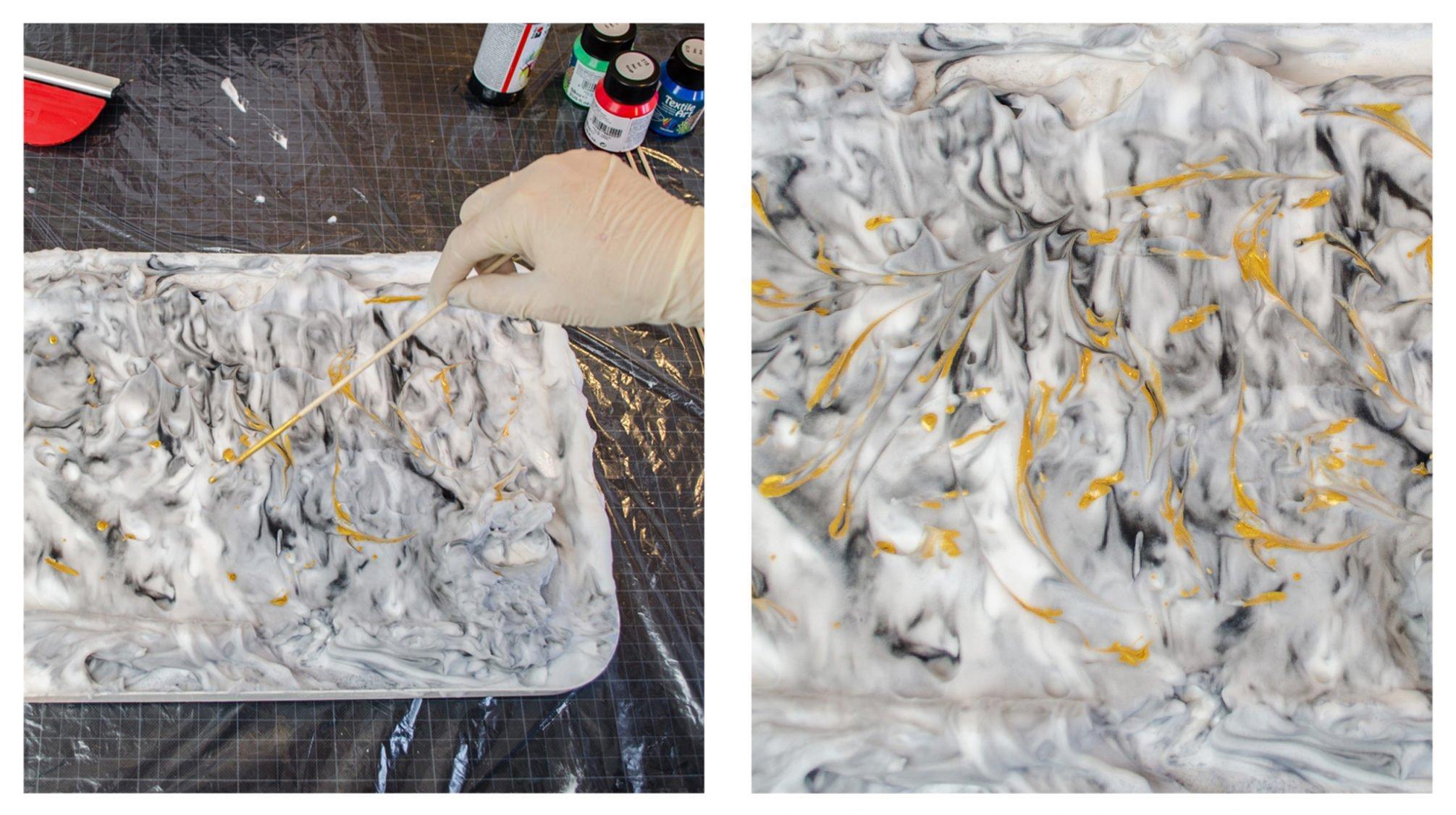 Die Farbe wird aufgetropft und anschließend mit einem Schaschlikspieß verrührt