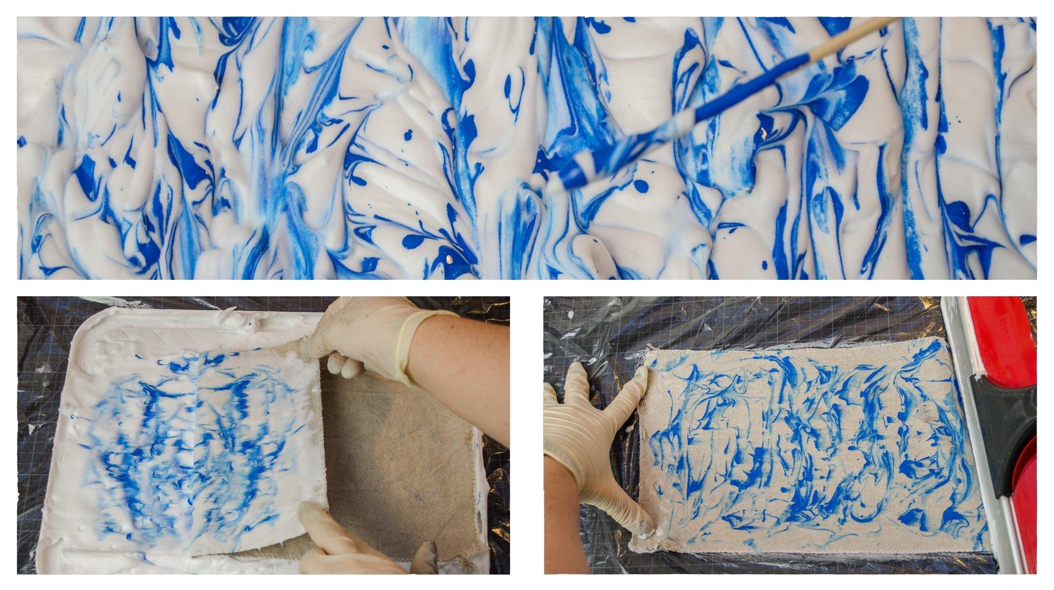 Marmorierter Schaum und Marmorierter Stoff in Blau
