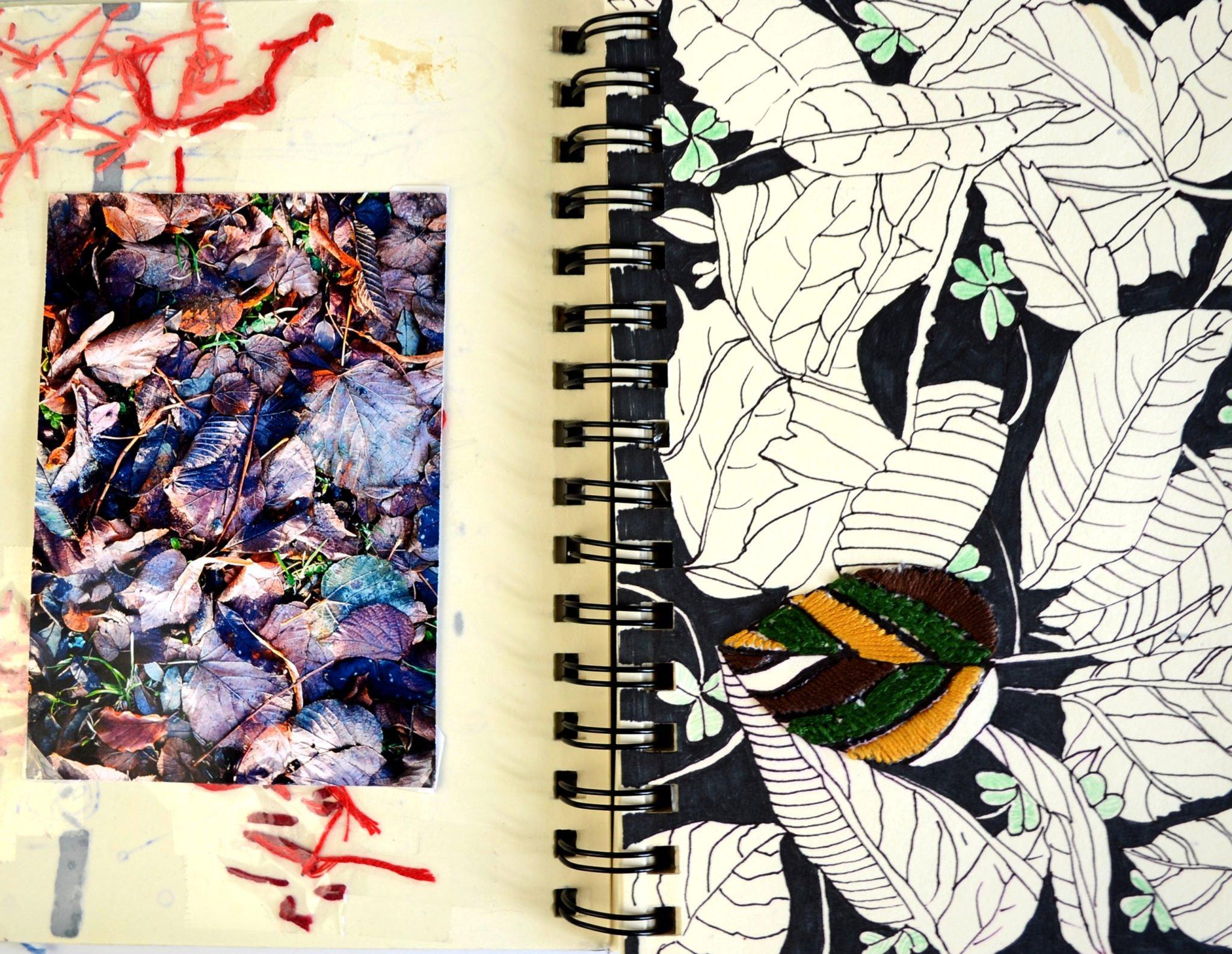 Art Journal Seite Blätter von Ms. Hey!