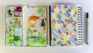Art Journal und Aquarellkasten - Textildesign - Ms.Hey!