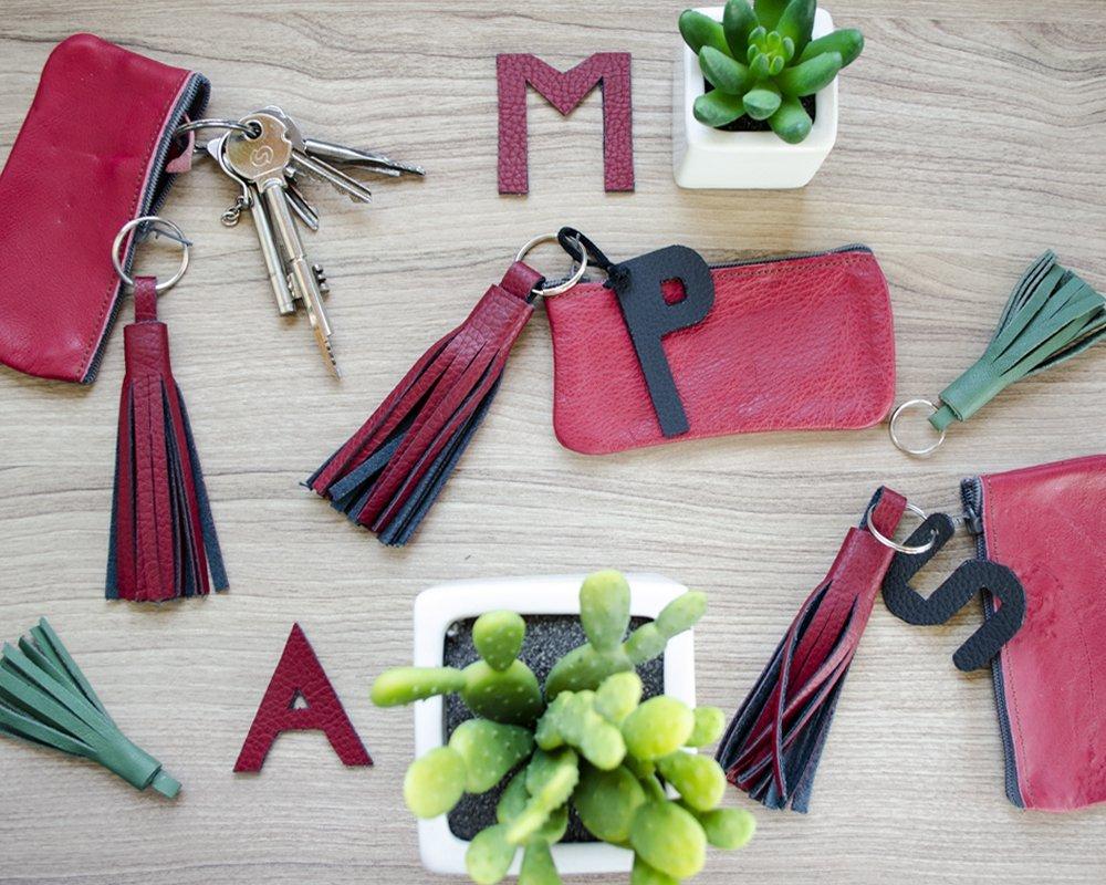 Schlüsseltasche Rotes Leder von MsHeyTextildesign