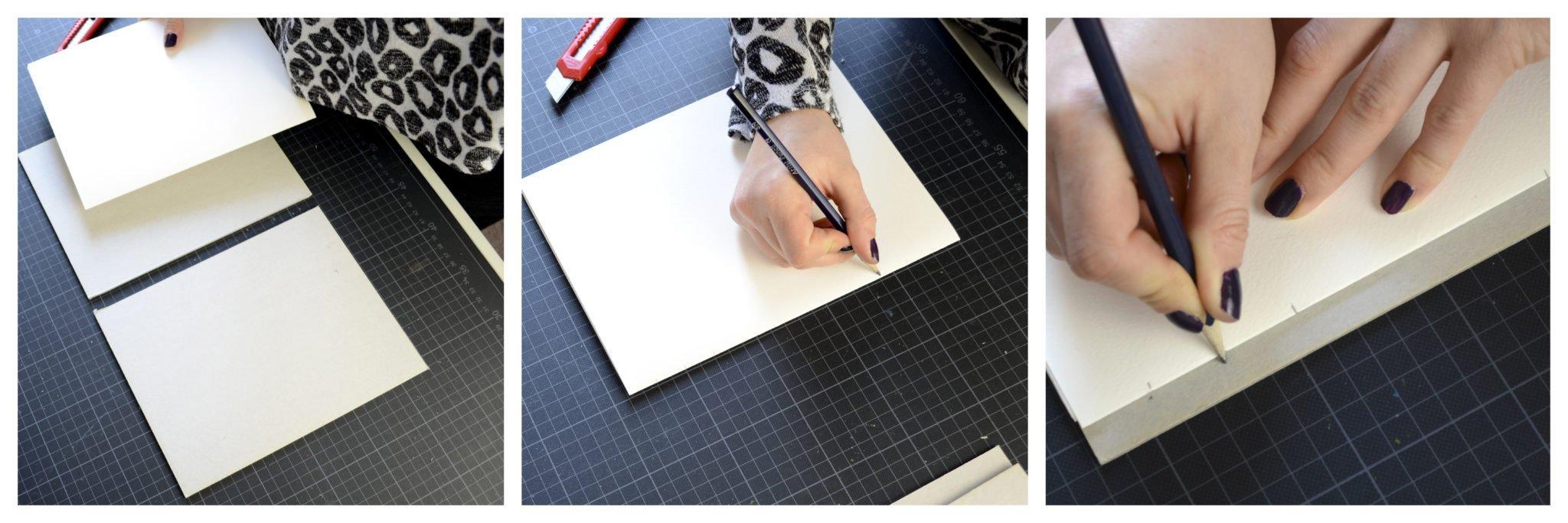 SChritt 3 beinhaltet das Markieren der Bindelöcher auf den Signaturen und dem Deckel Buchbinden - Skizzenbuch