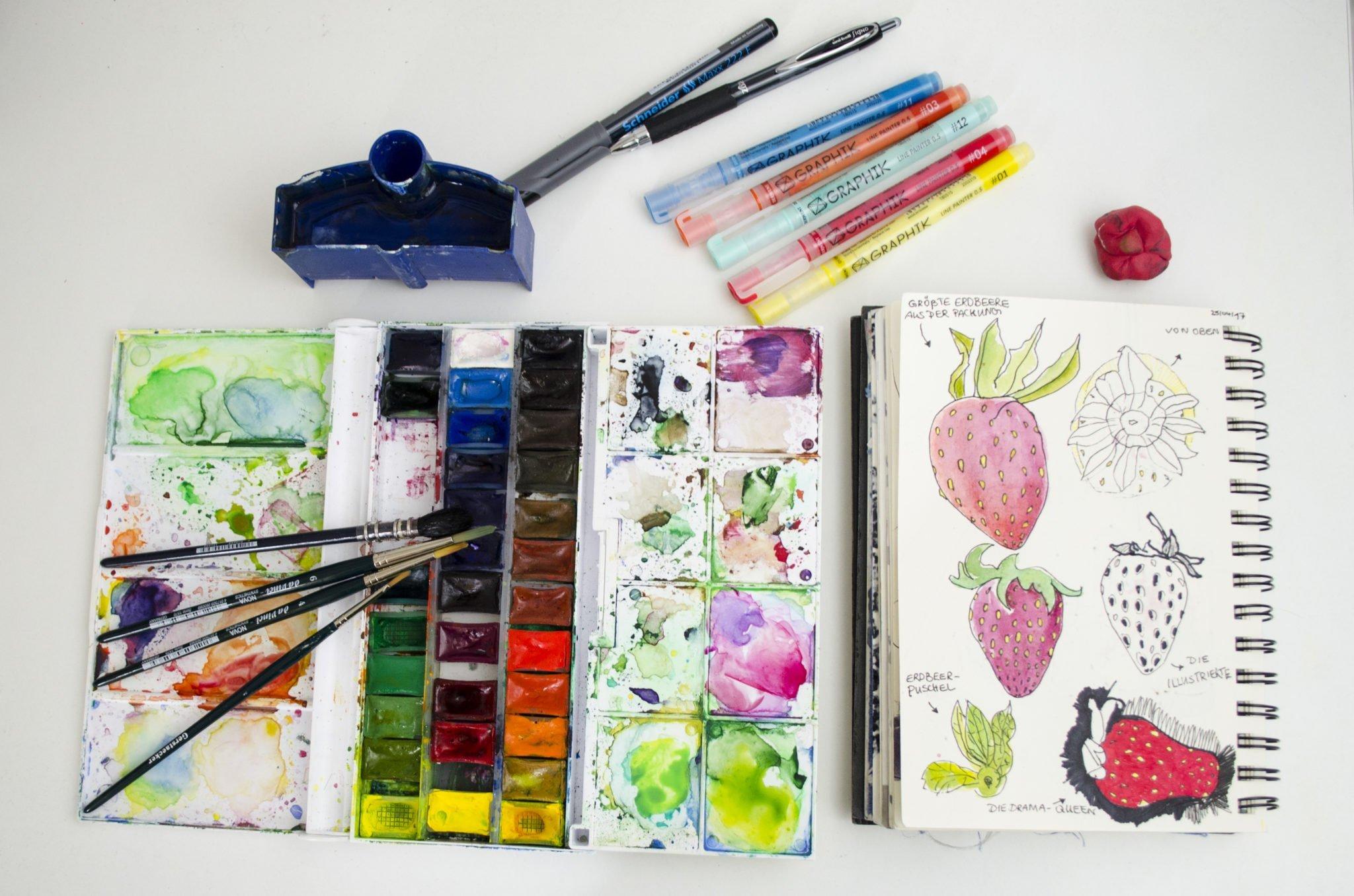 Inspiration und Arbeitsmittel um ein Muster zu erstellen. Das sind meine liebsten Arbeitsmittel zum Malen und Zeichnen.