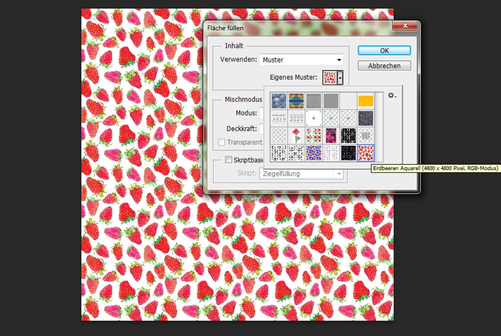 Schritt 7 Rapport überprüfen und Muster in neue Datei einfügen