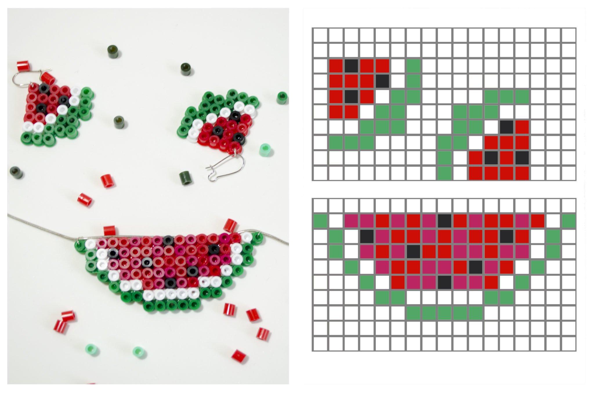 Musterbeispiel für melonenohrringe aus Bügelperlen