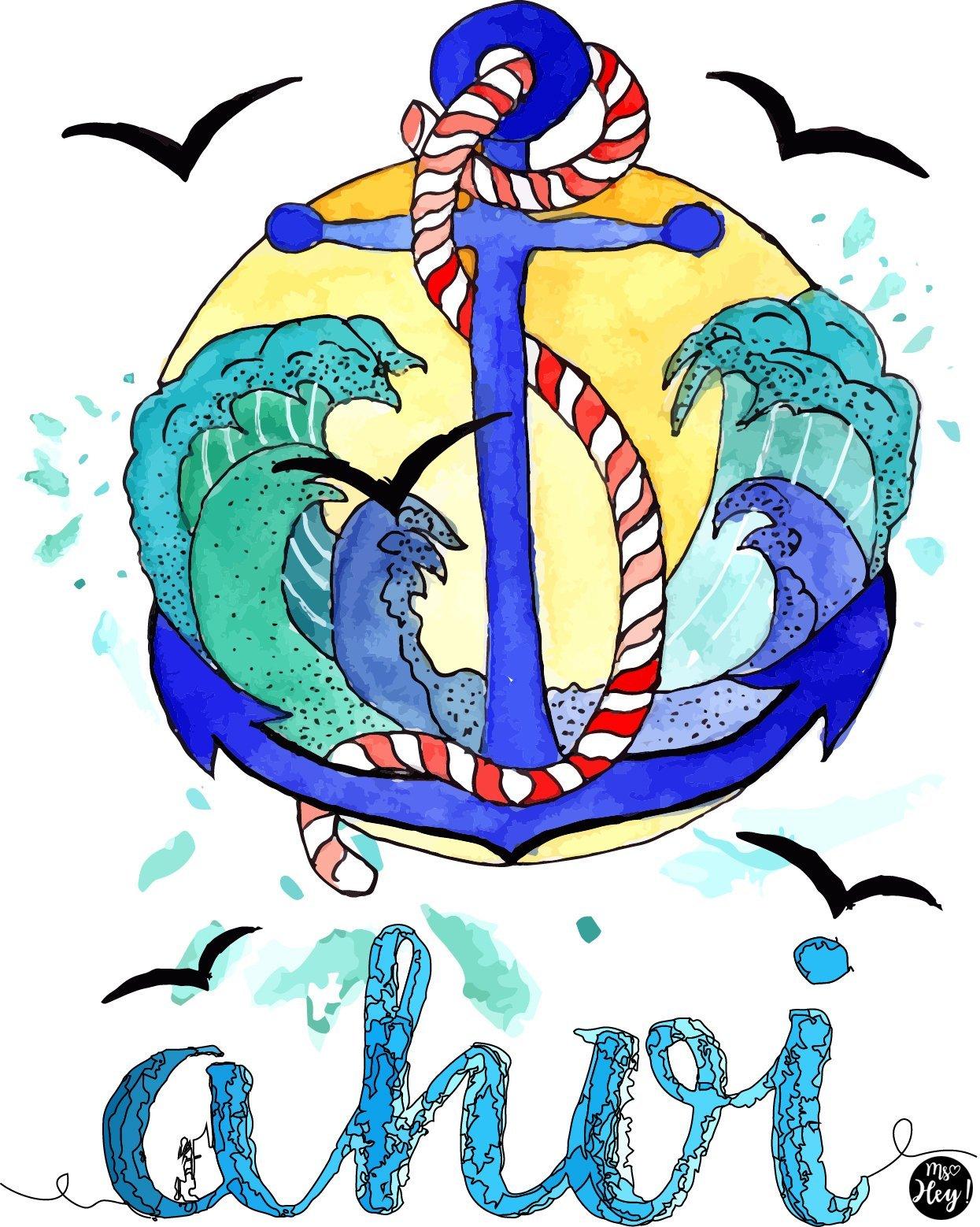 Anker und Wellen Maritimer Kunstdruck von Ms.Hey!
