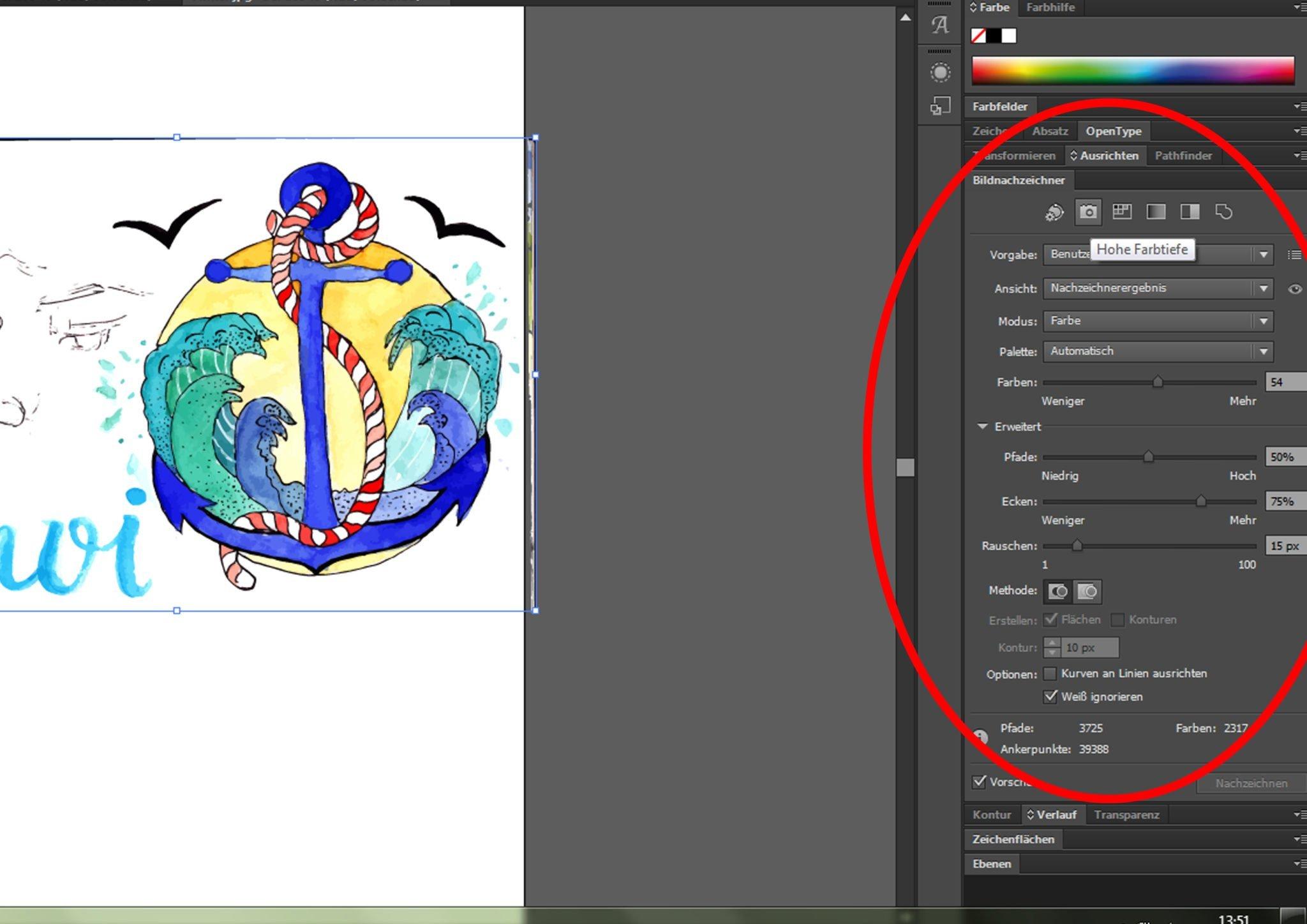 Illustration im Illustrator nachzeichnen mit folgenden Eigenschaften
