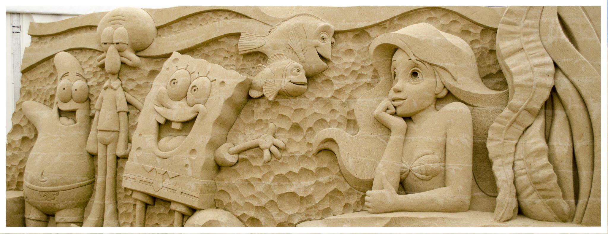 Sponge Bob Schwammkopf - Findet Nemo - Arielle die Meerjungfrau - Sandskulpturen Usedom 2017 Seebad Ahlbeck