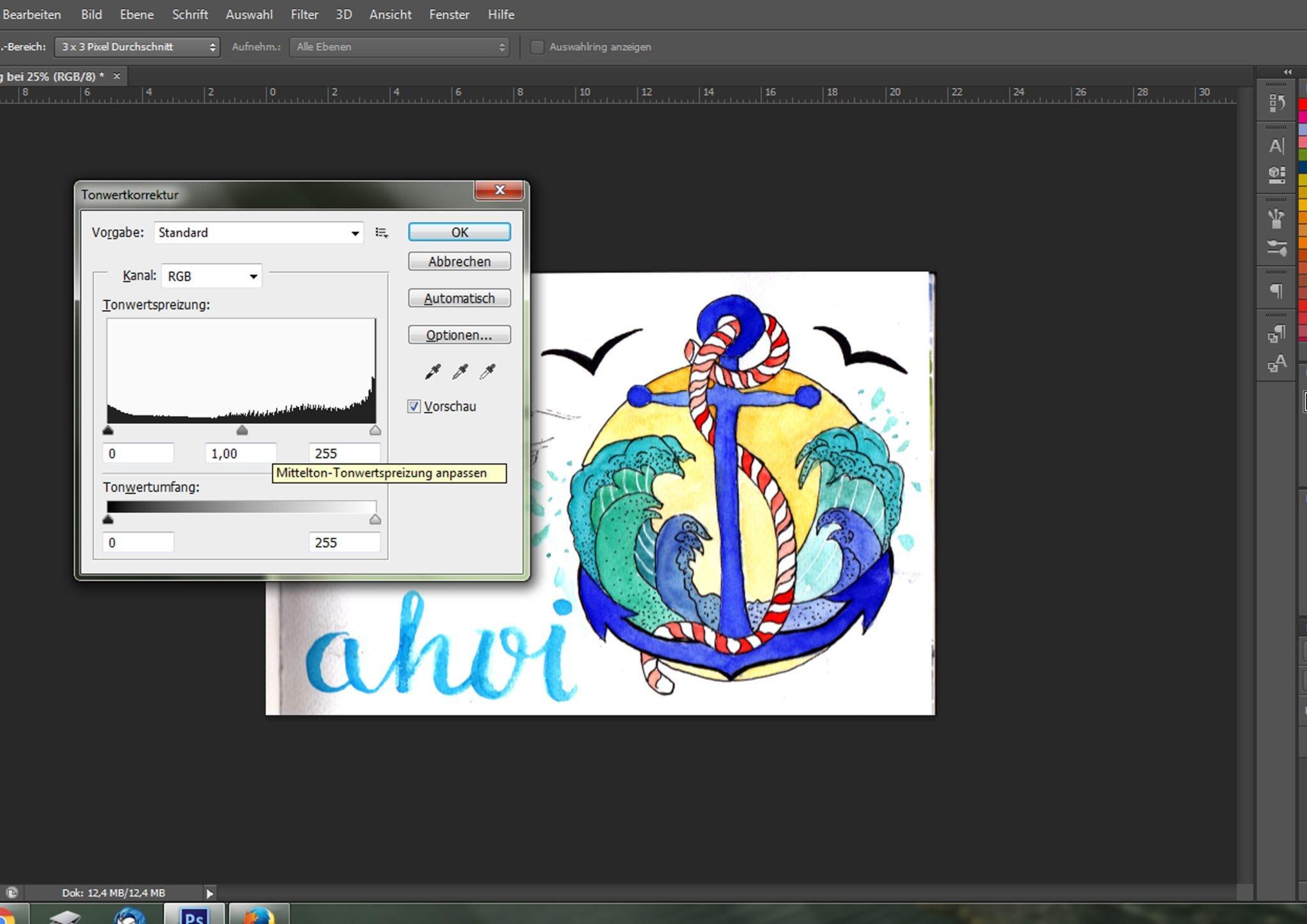 Tonwertkorrektur der Illustration für einen hochwertig aussehenden Kunstdruck
