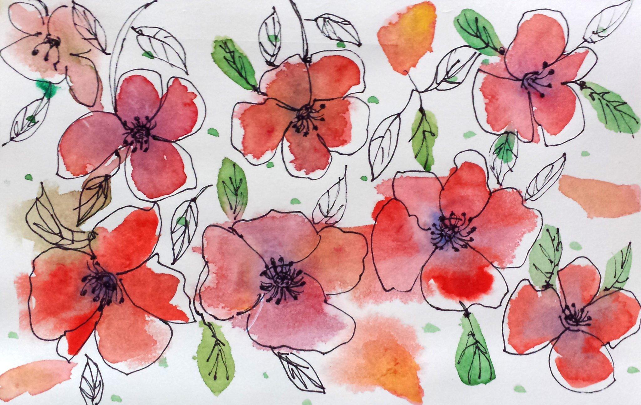 Draw with me schnelle Aquarellblumen in Nass in Nass Technik von Ms.Hey!