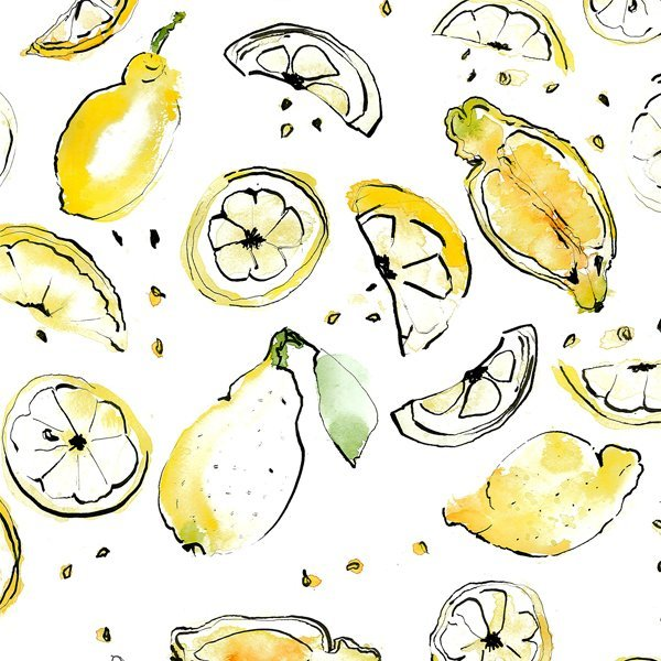Happy Fruit- Zitrone Aquarell Ms.Hey!_textildesign_