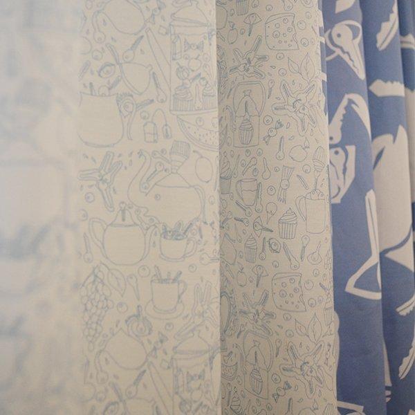 Petite Joie Flächenvorhang Seide Blau Weiss