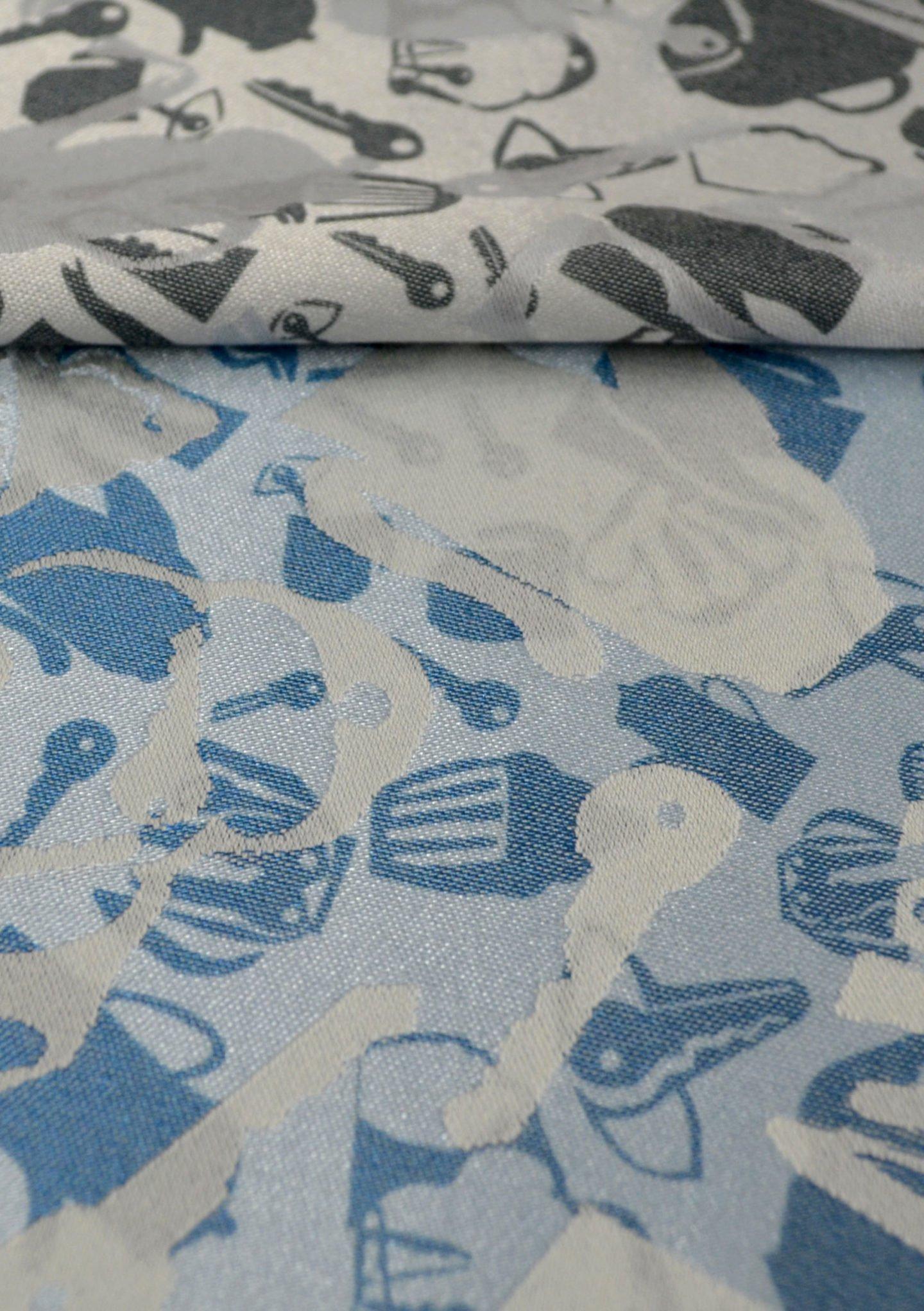 Petite Joie Jaquard Tischwäsche Detail schwarz silber blau
