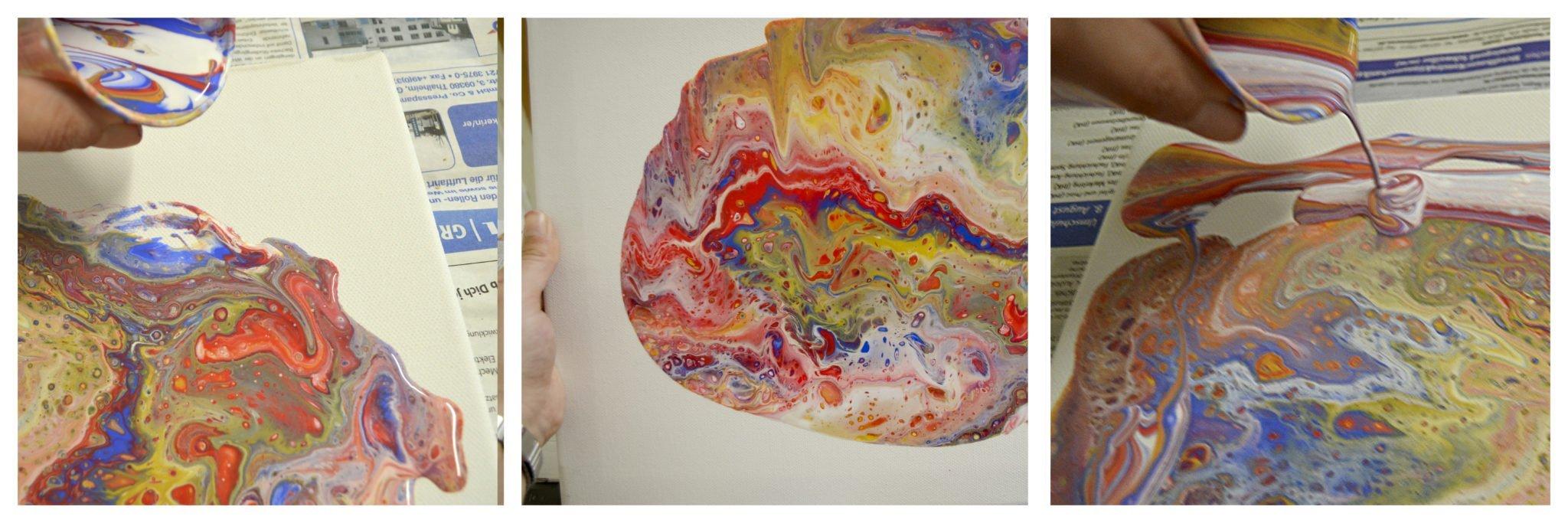 Abstrakte Acrylmalerei Dirty Pour Feinschliff