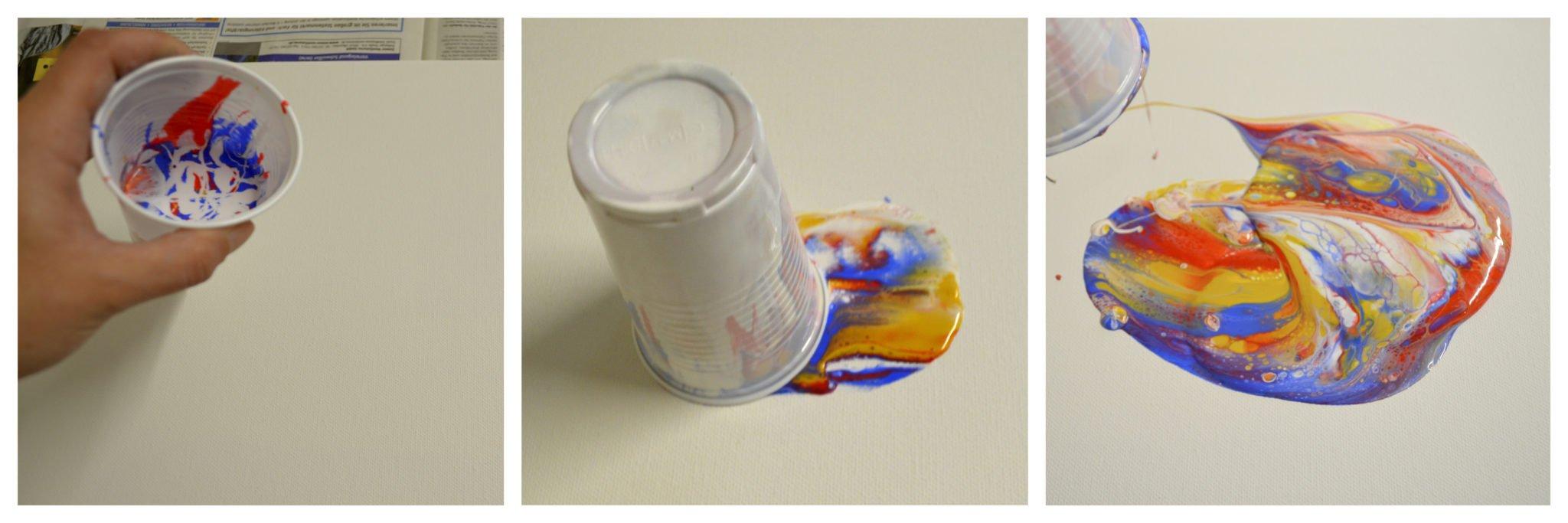 Dirty Pour auf Leinwand Abstrakte Acrylmalerei