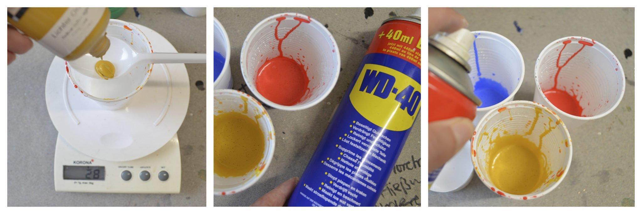 Farben und Fließmittel zusammen rühren für Abstrakte Acrylmalerei