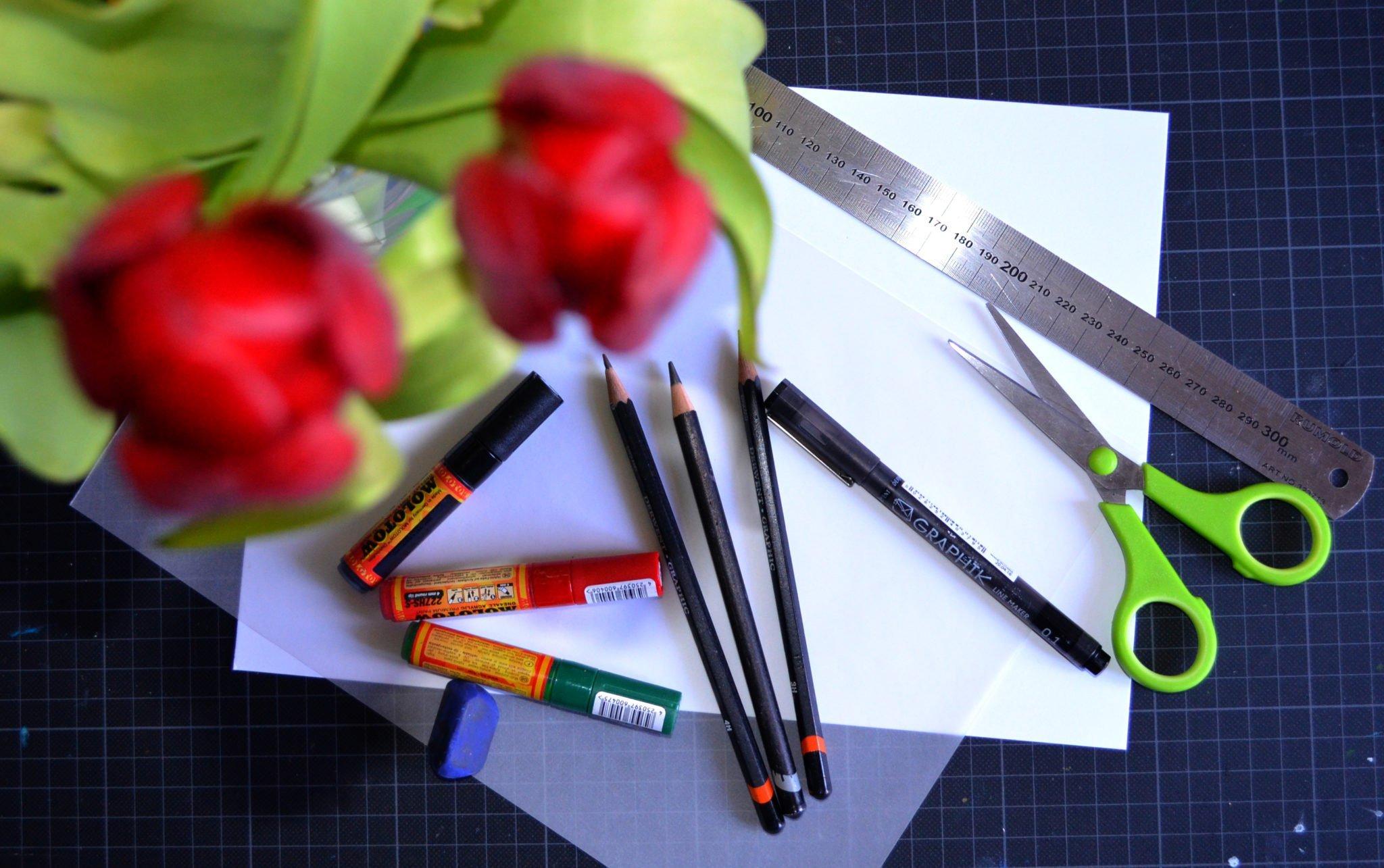 Muster von Hand zeichnen , diese Materialien werden benötigt