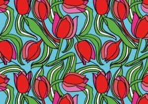 Tulpen in Farbe und Rapport gezeichnet von Ms.Hey! textildesign